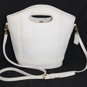 COACH white leather vintage cross body handbag USA